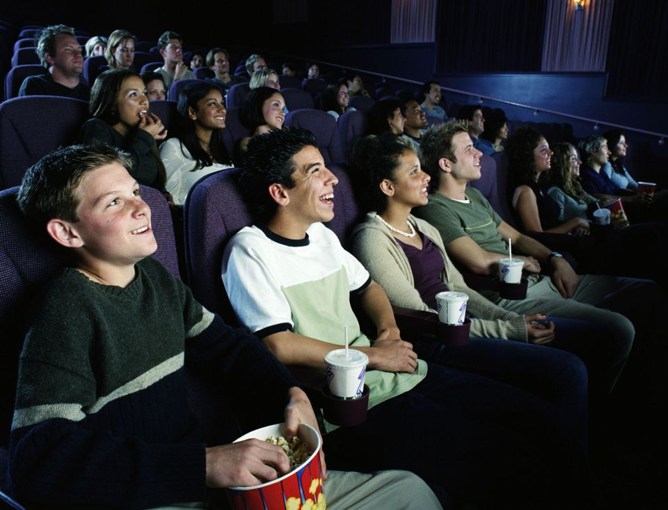 A picture of high school students on a field trip to the movies