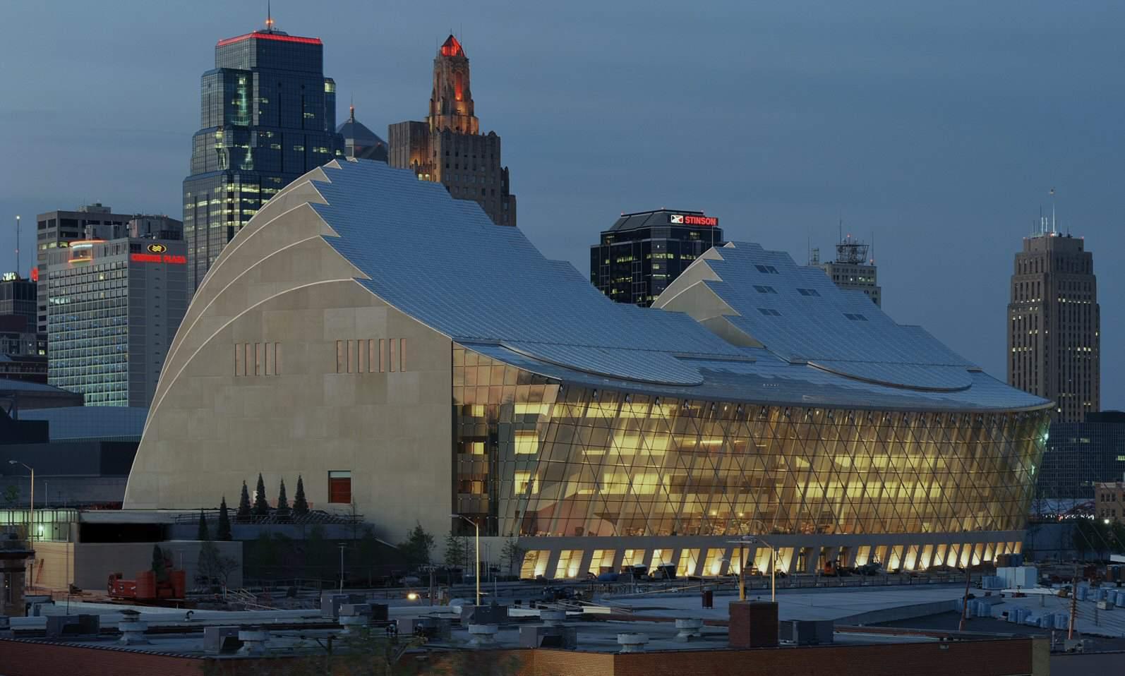 Kauffman Center for the Performing Arts, opened September 16, 2011, Kansas City, Missouri. Architect: Moshe Safdie
