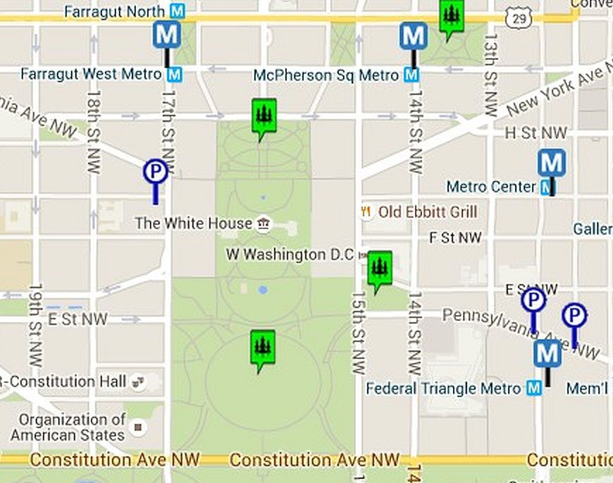 Map of the White House and the Ellipse in Washington, DC