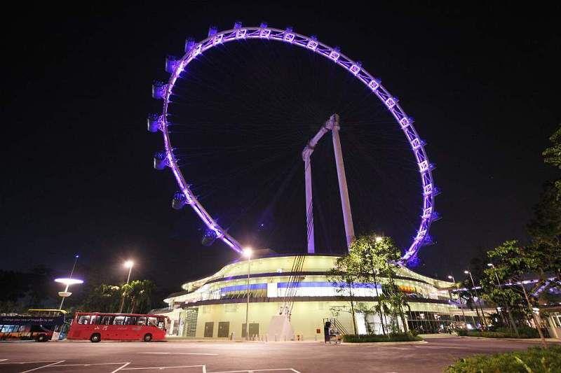 The Singapore Flyer at Night: Lighting Up the Singapore Skyline