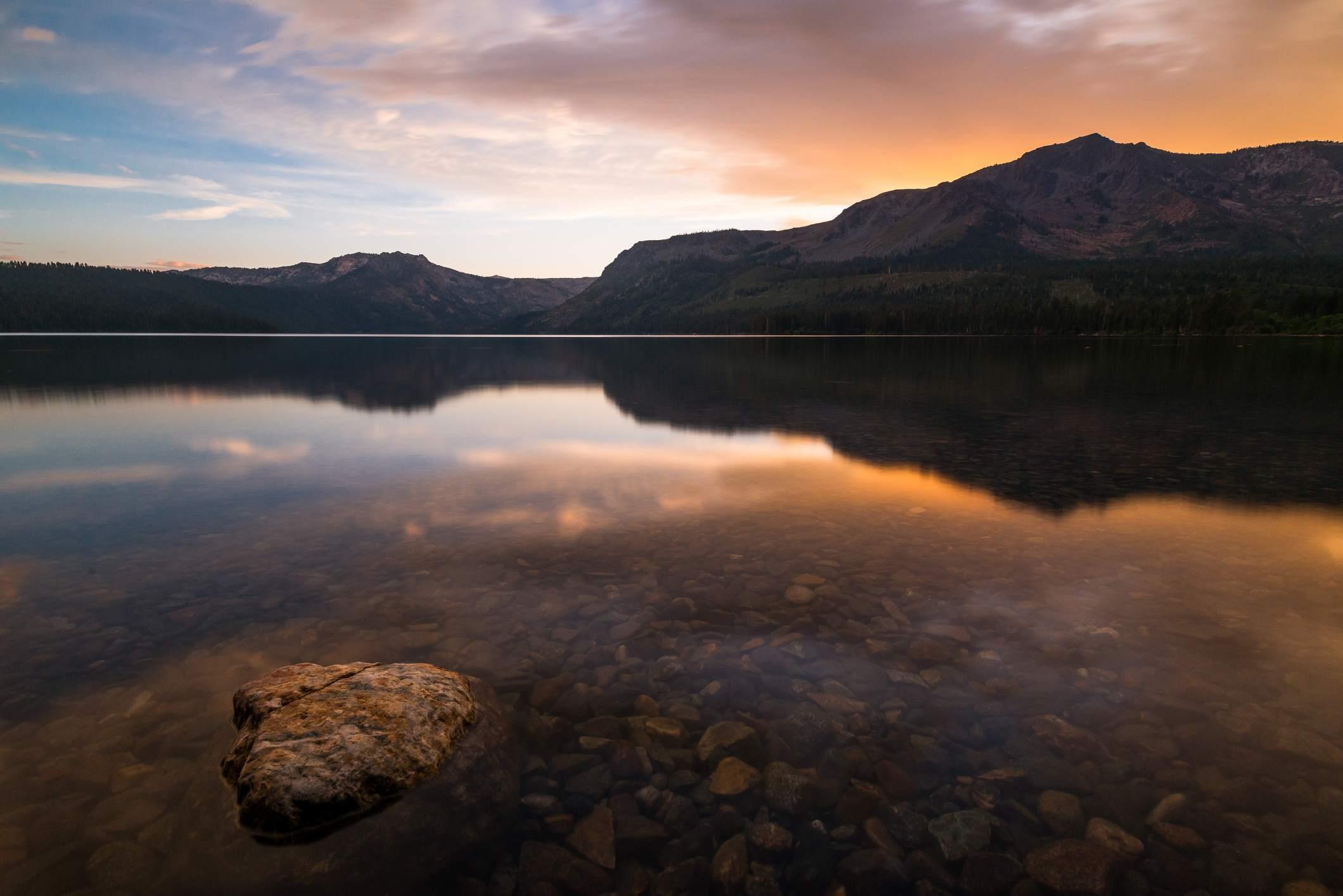 Sunset at Fallen Leaf lake near Lake Tahoe in California