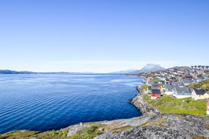 Colorful houses on the coastline of Greenland