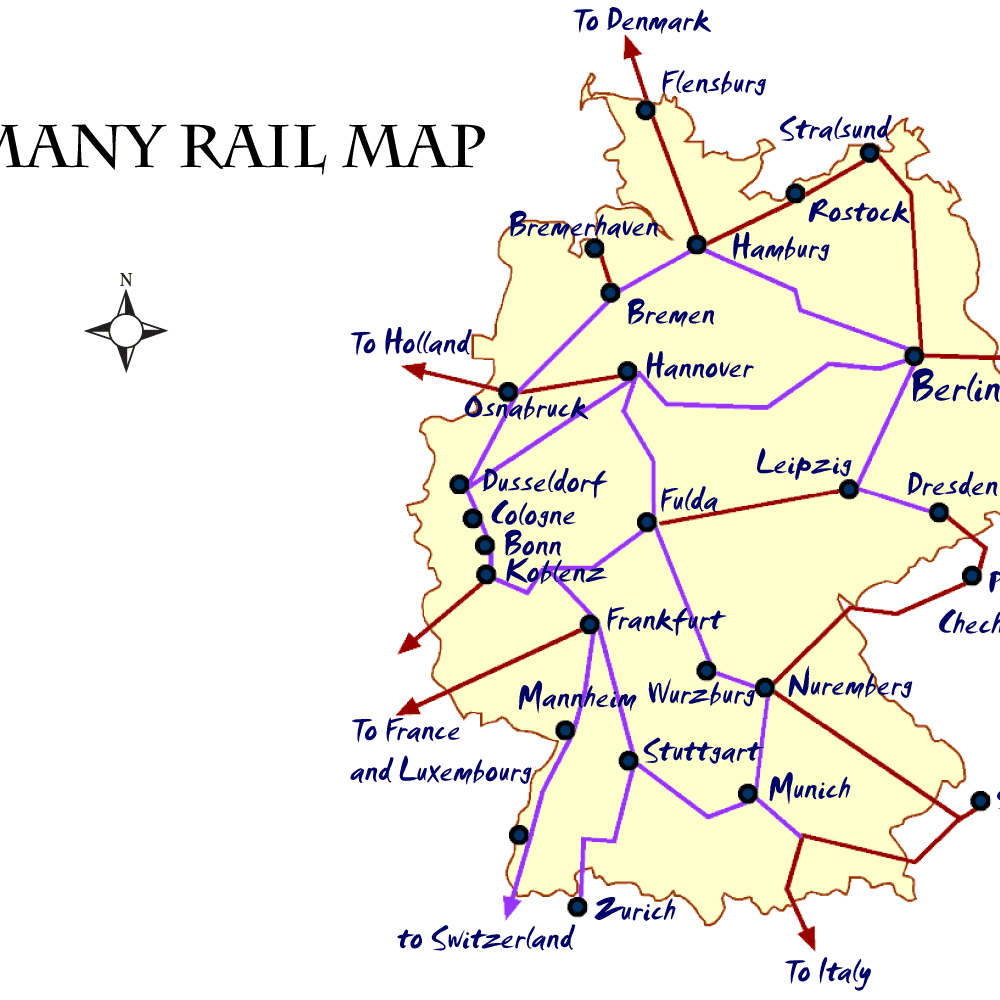 Map Of Germany Mannheim.Germany Rail Map And Transportation Guide