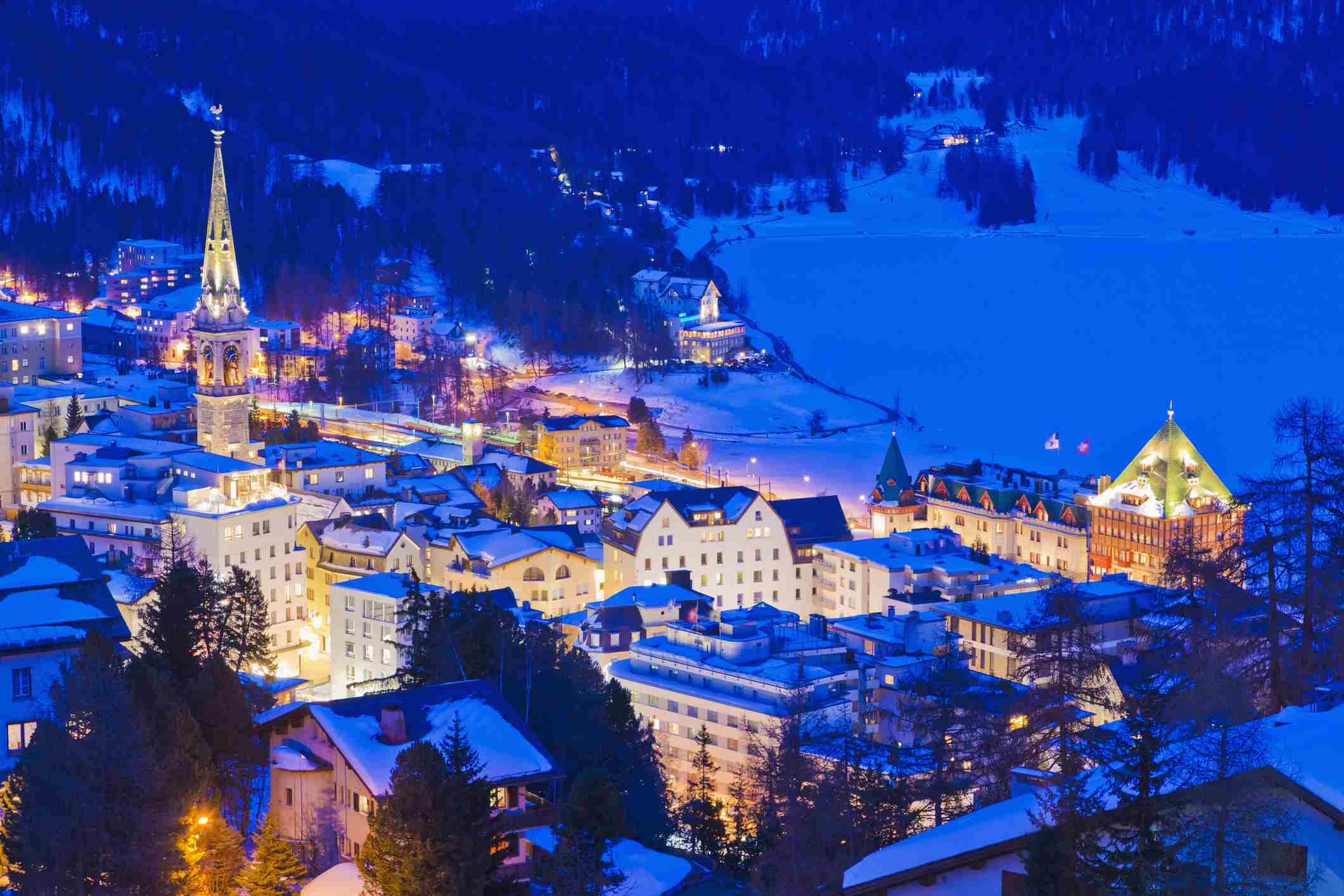 Aerial view of St. Moritz townscape