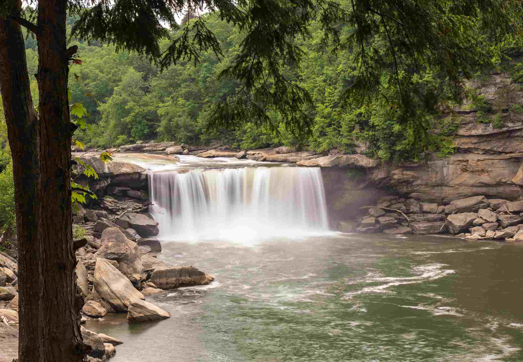 The waterfall at Cumberland Falls State Park on the Cumberland River.