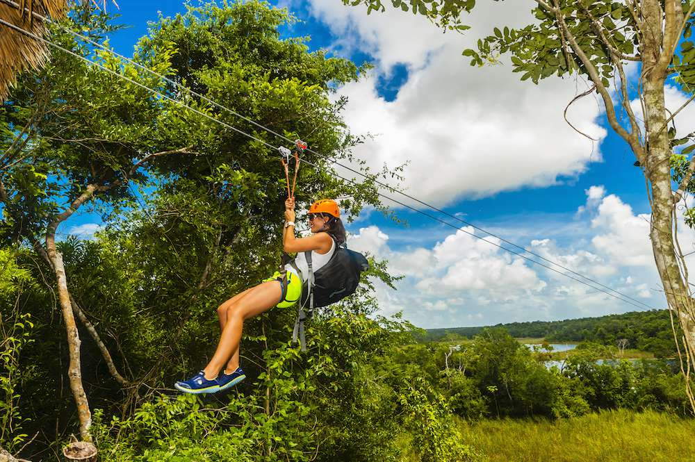 zip lining in the Riviera Maya