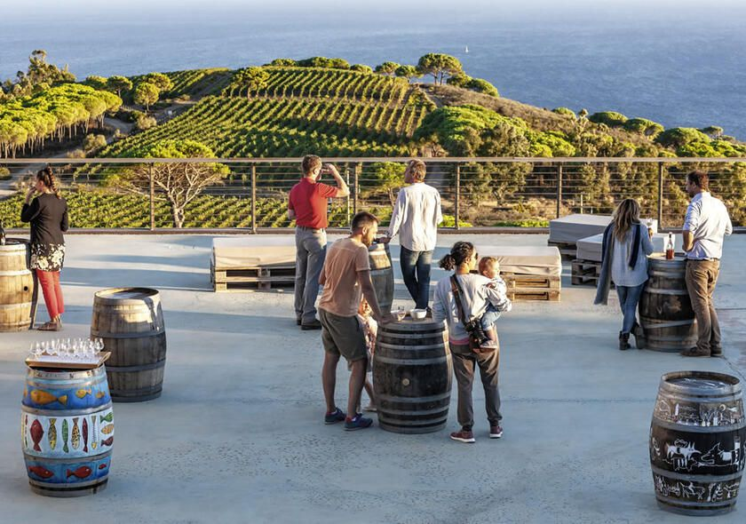 People standing at outdoor tasting area at Tenuta Ripalte, with sea view