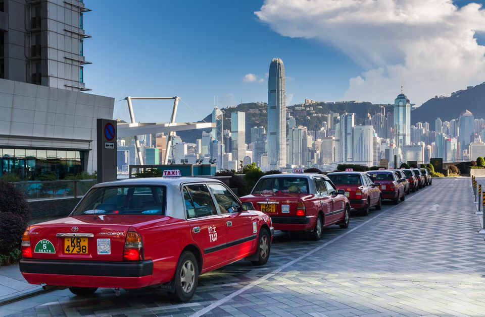 Row of taxis at the International Commerce Centre, Kowloon, Hong Kong