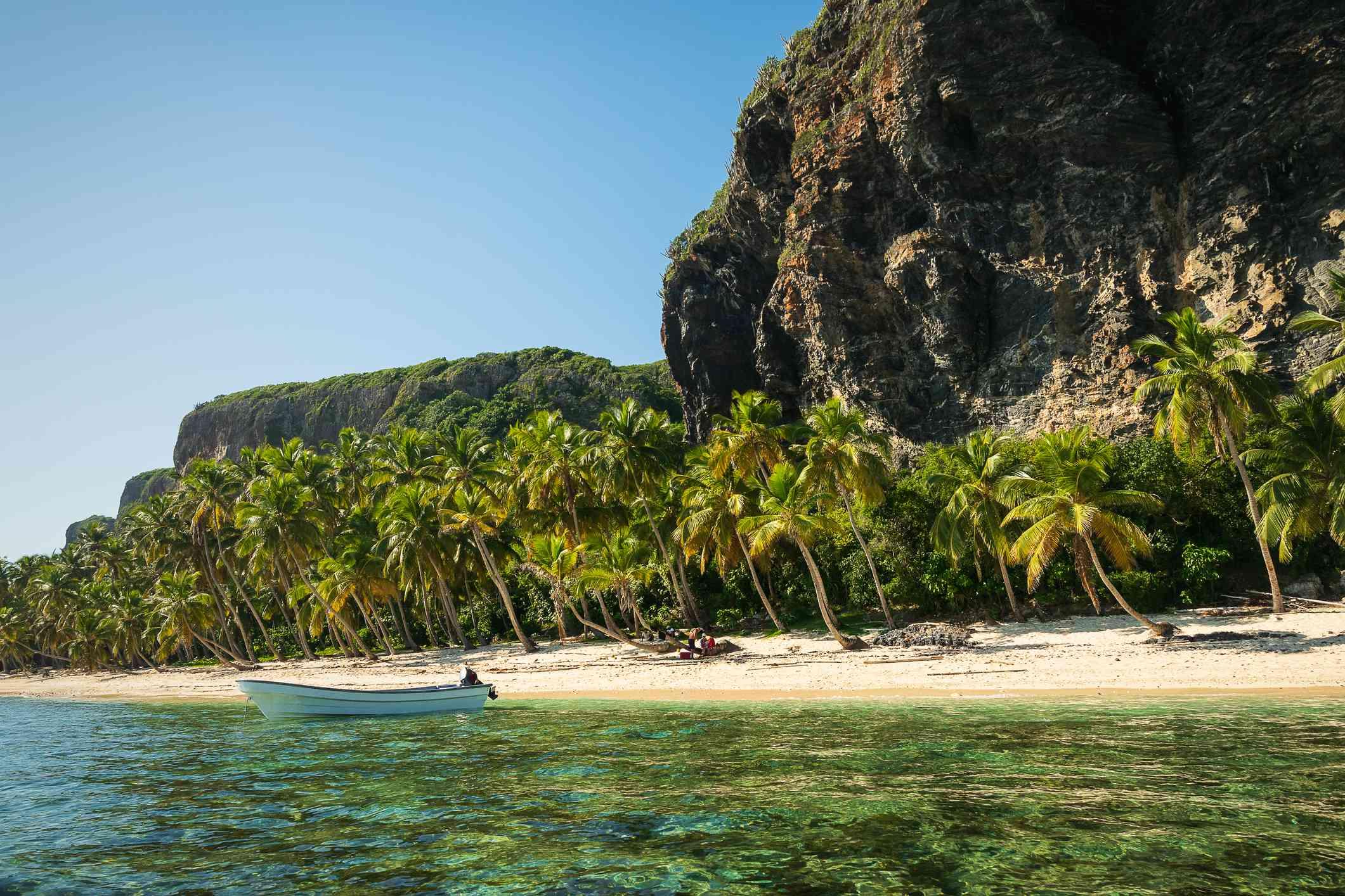 View on beach Playa Fronton in Dominincan Republic.