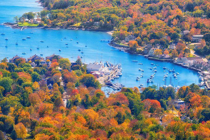 View from Mount Battie overlooking Camden Harbor, Maine