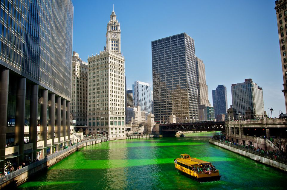 The river turned green in Chicago during St. Patrick's Day