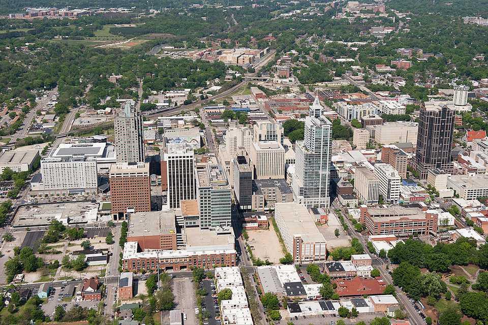 Vista aérea del centro de Raleigh