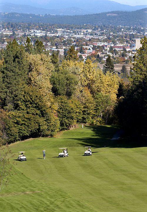 Golfers at Indian Canyon Golf Course in Spokane Washington