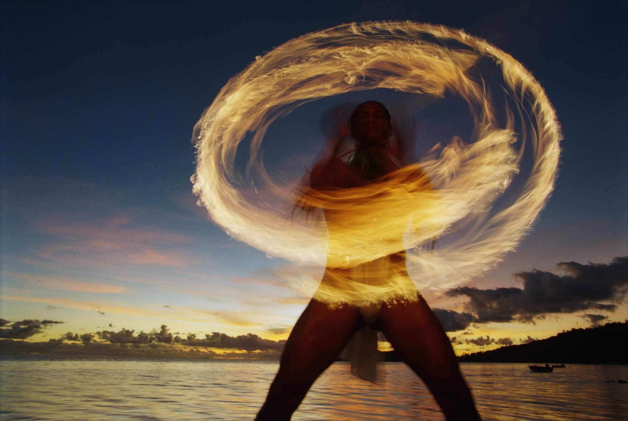 Traditional Tahitian fire dancer performing