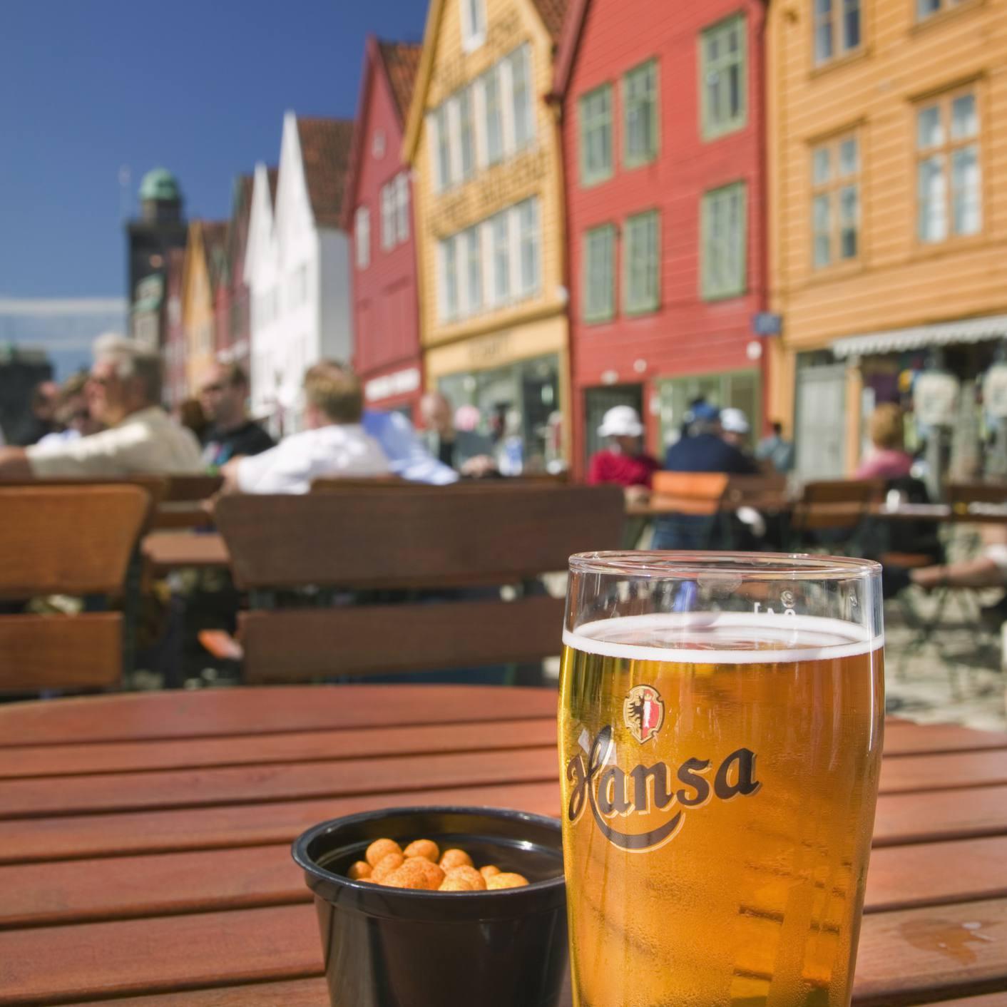 Beer Terrace in Bryggen, Norway