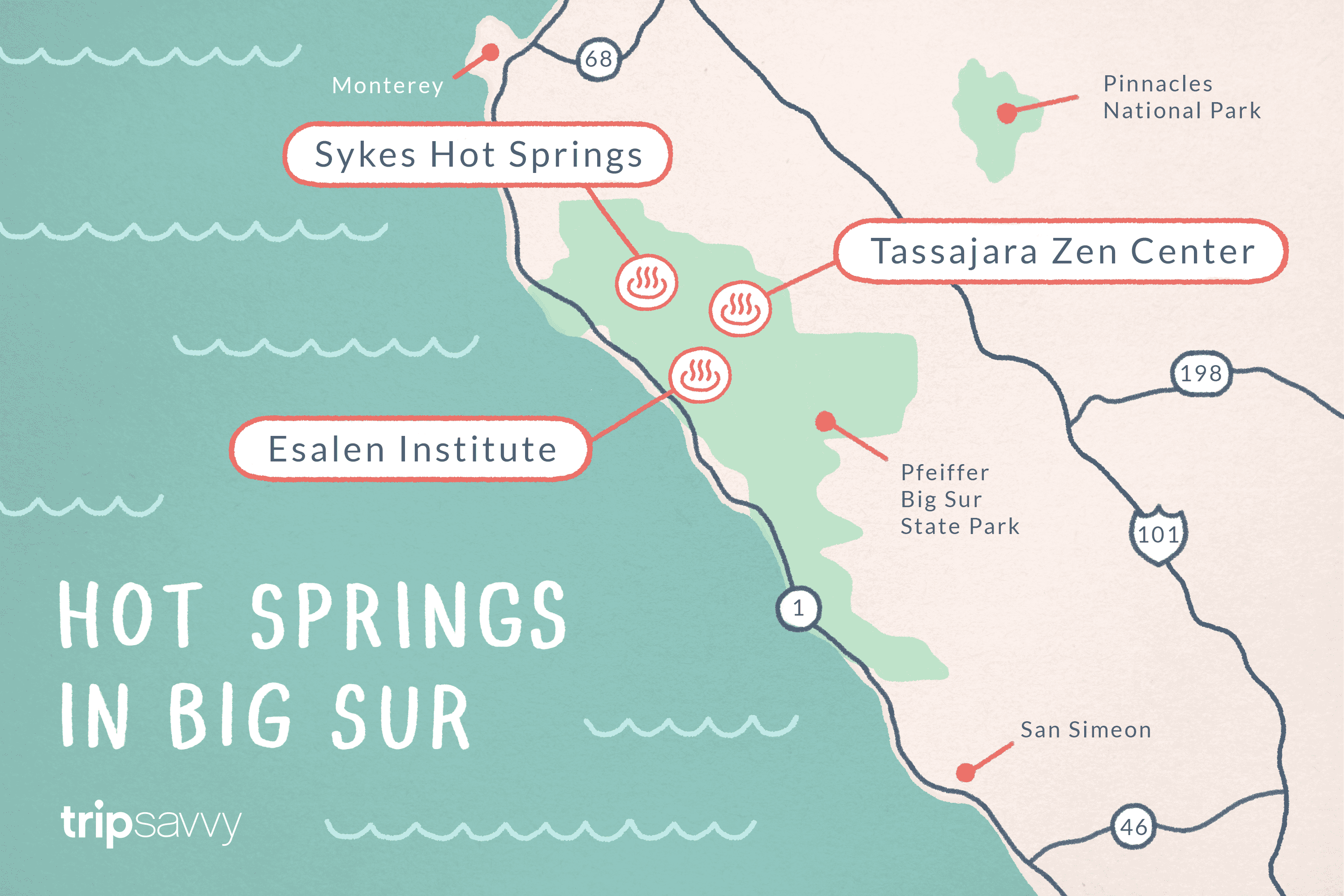 Big Sur Hot Springs - Top Natural Hot Tubs on the Coast California Hot Springs Map on