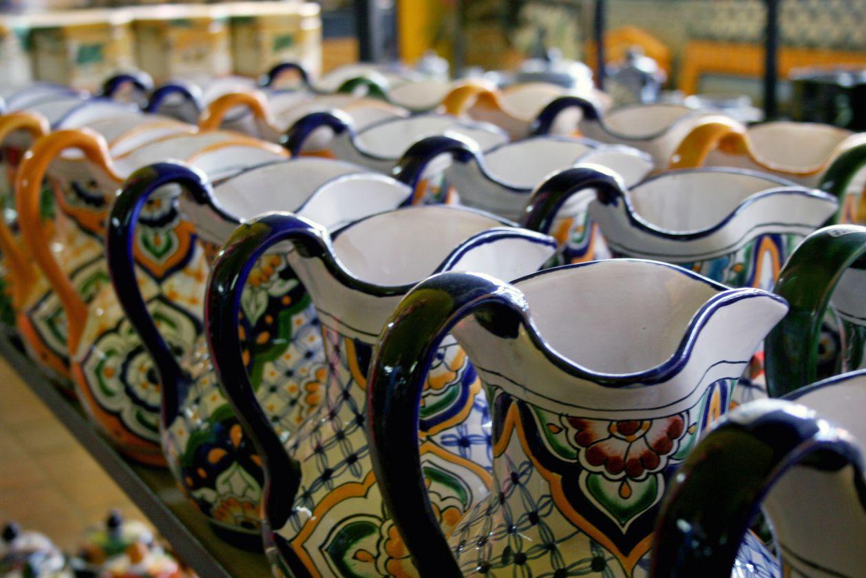 Rows of Talavera pitchers in a Puebla Shop