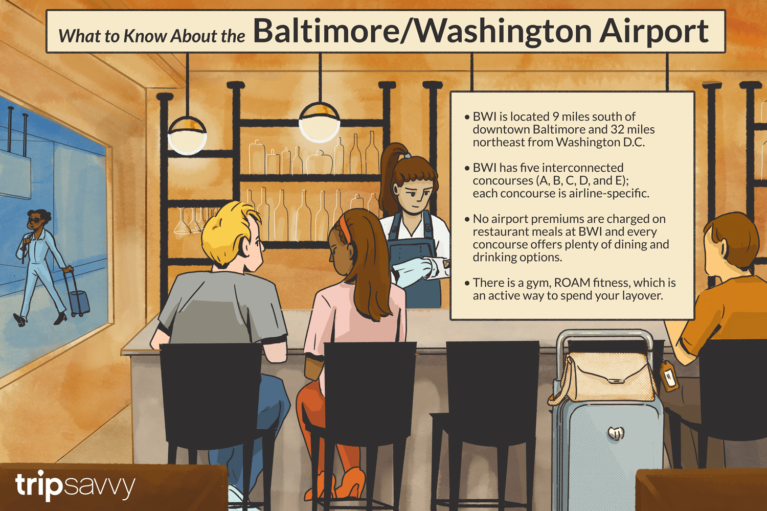 Illustration of people sitting at an airport bar with information about airport from a TripSavvy article