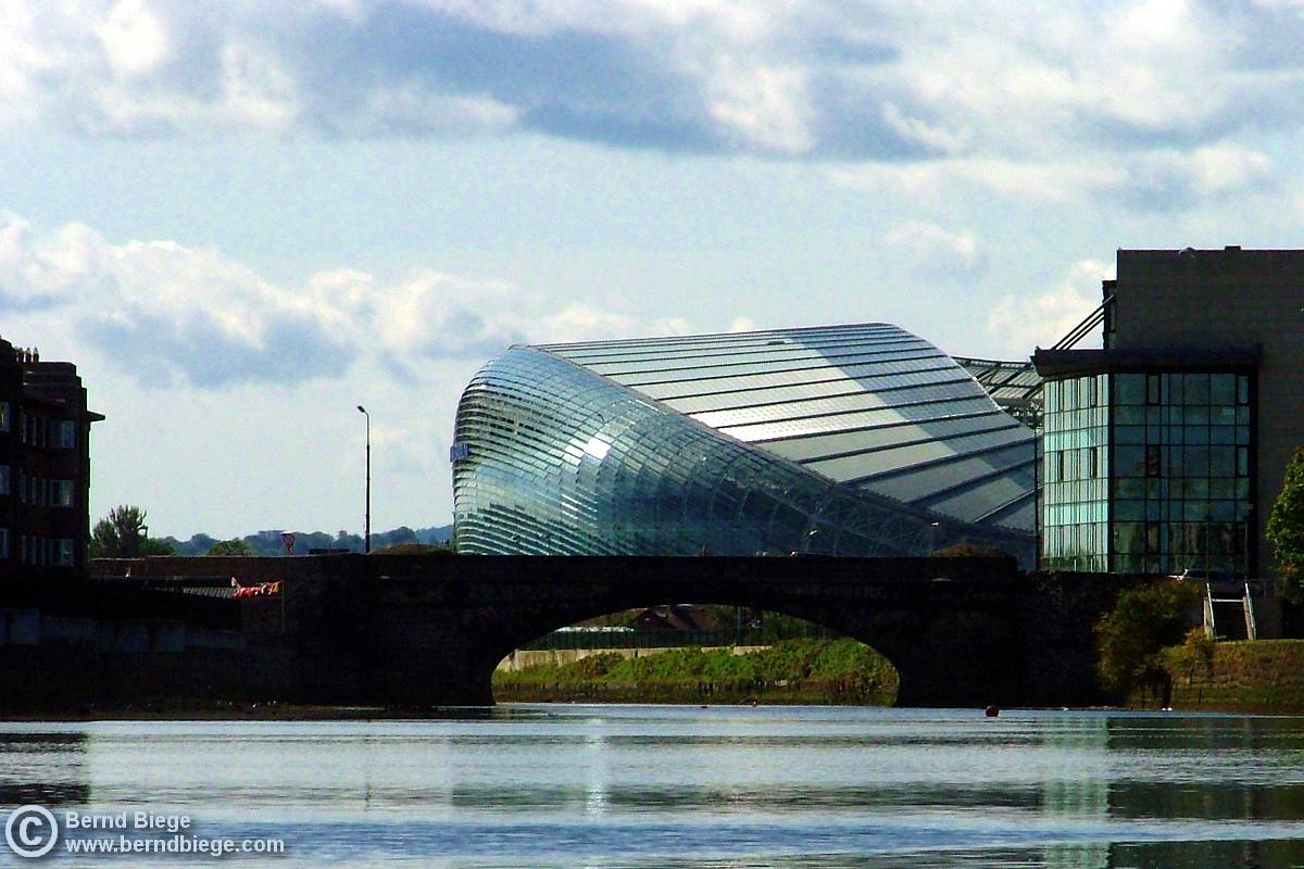 Dublin's Aviva Stadium - the impressive (partial) view from the Liffey.