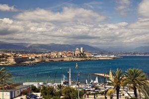 Old city and port of Antibes looking towards Fort Carre