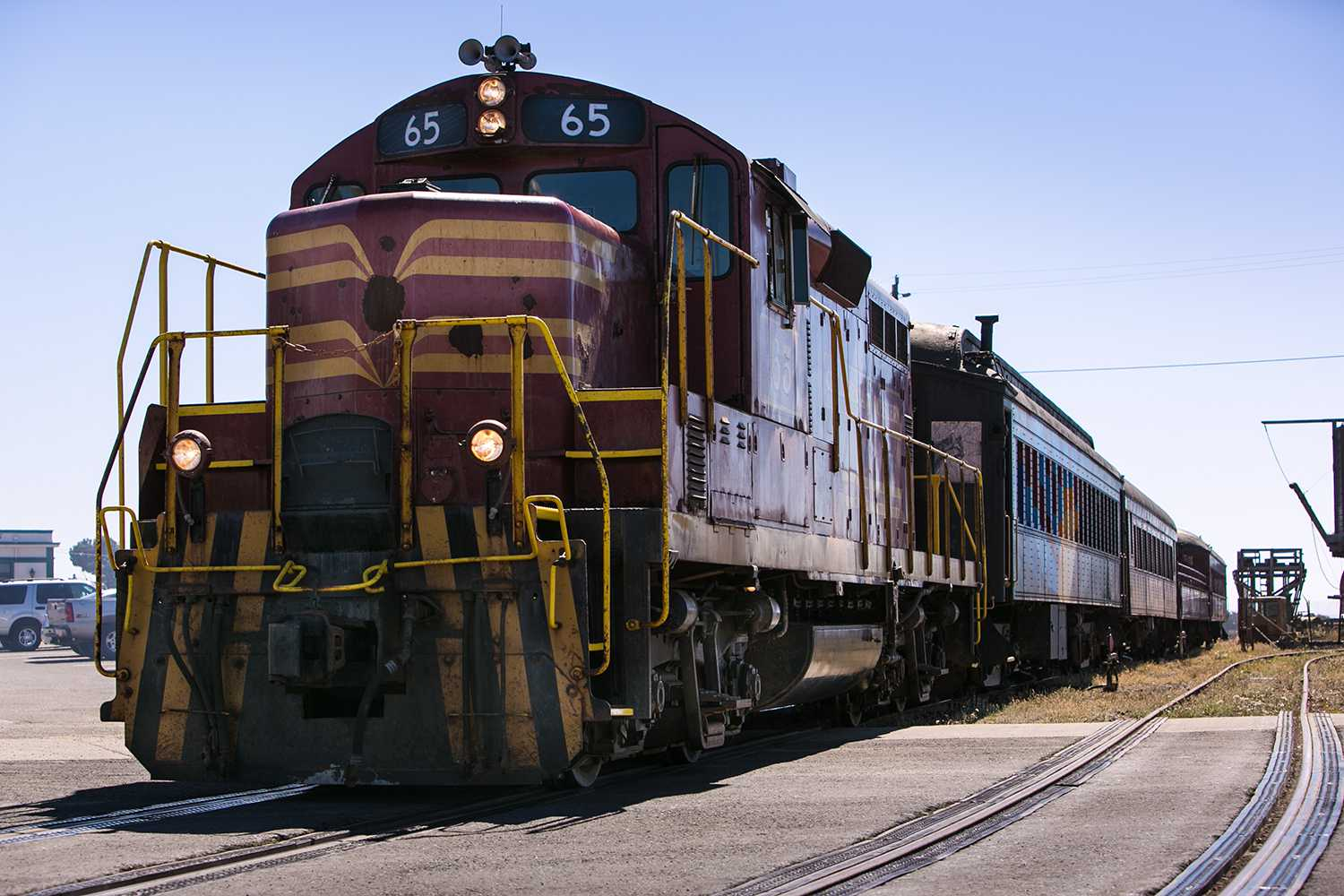 The California Western 'Skunk Train' pulls away from the station on September 6, 2013, in Fort Bragg, California.