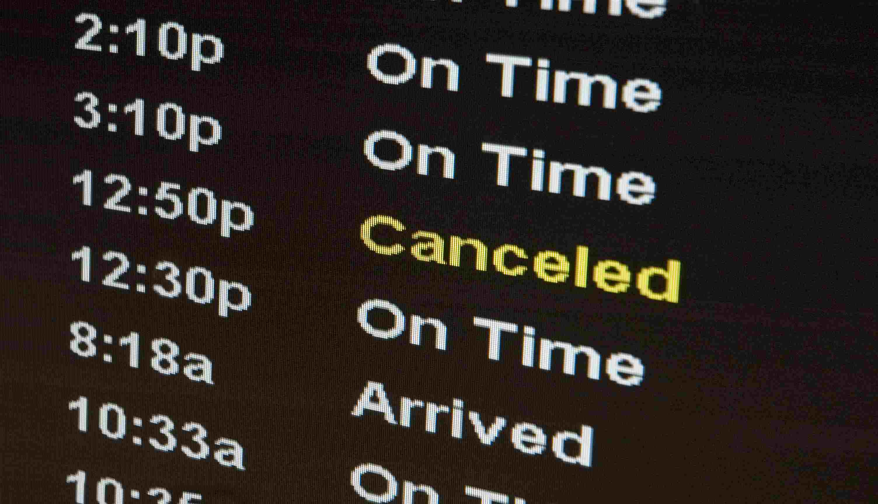 Airport Sign - Flight Canceled Travel Nightmare