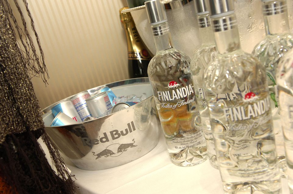 Red Bull and Finlandia Vodka display