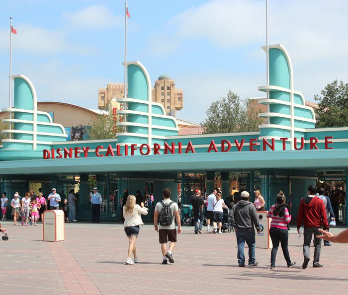 The stylized front entrance to Disney California Adventure.