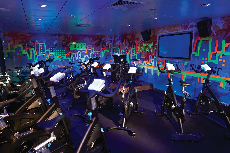 Flywheel® spinning class room at the Norwegian Getaway fitness center