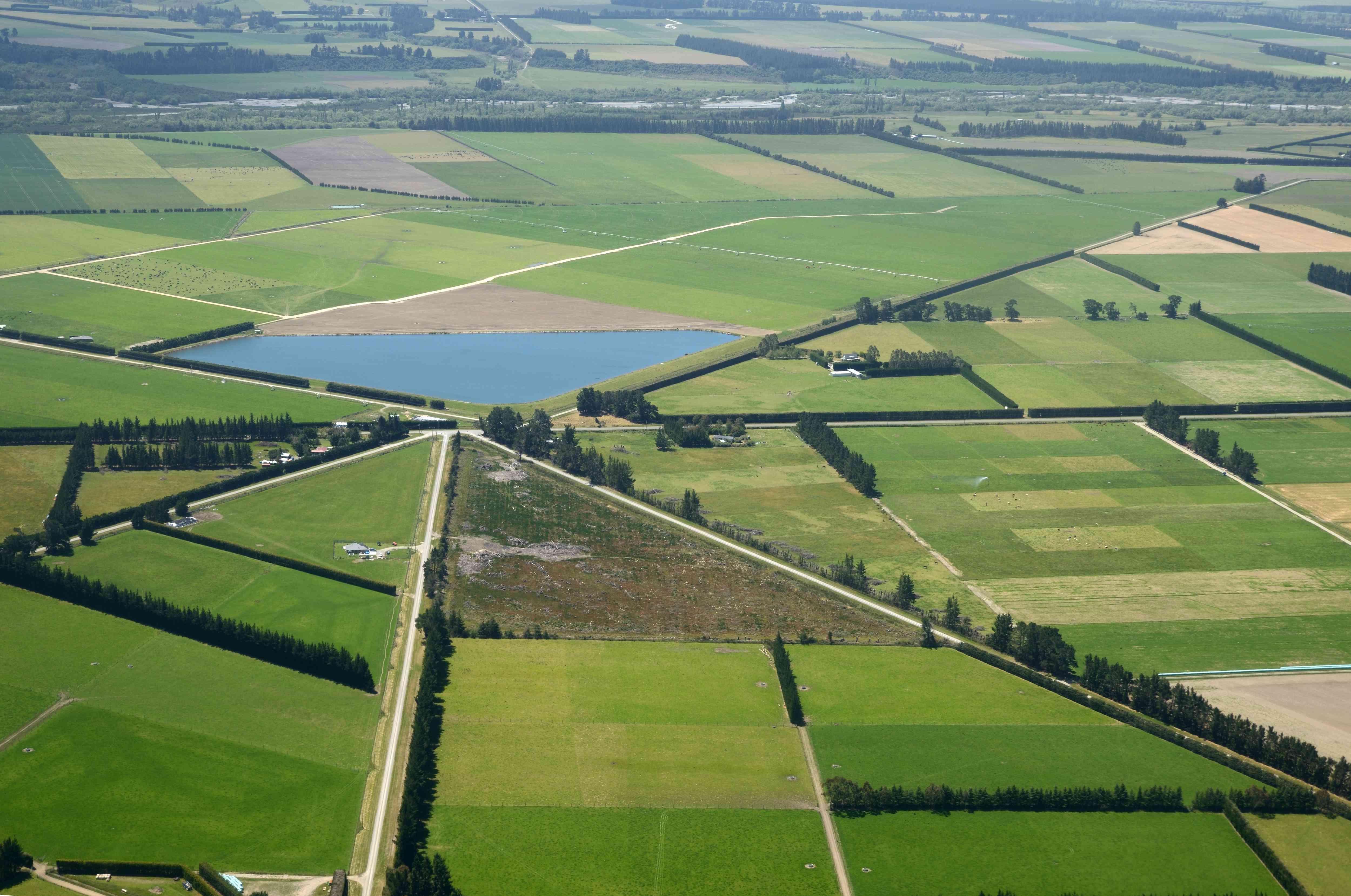 aerial of flat Canterbury farmland in New Zealand's South Island
