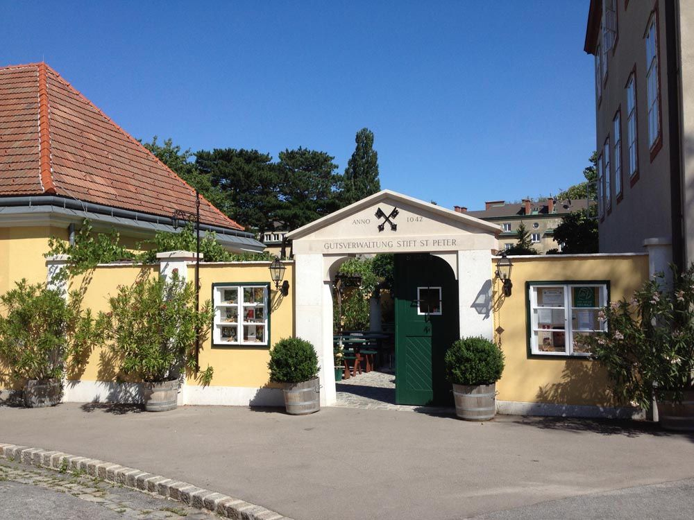The Buschenschank Stift St. Peter wine tavern in Vienna has been in operation since the 11th century.