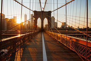 The iconic Brooklyn Bridge