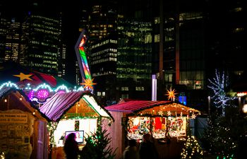 shopping around christmas market in downtown vancouver bc canada