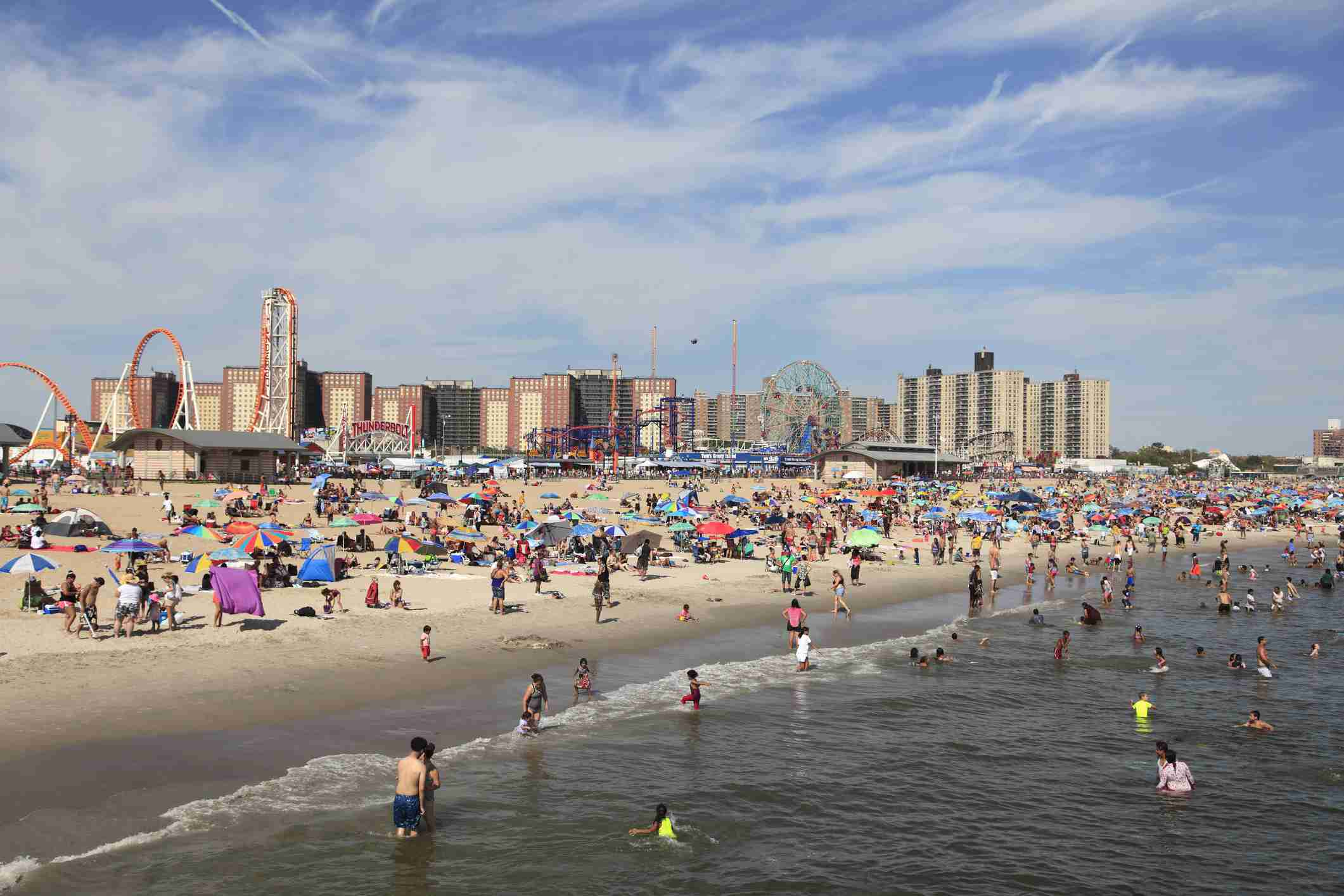 Beach filled with people in Coney Island