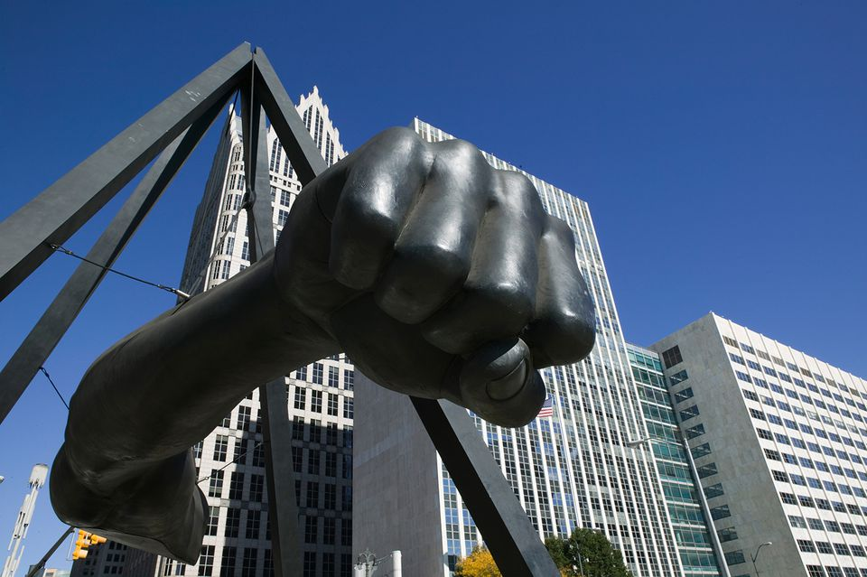 Black Fist Monument to Boxer Joe Lewis, Detroit, Michigan, USA