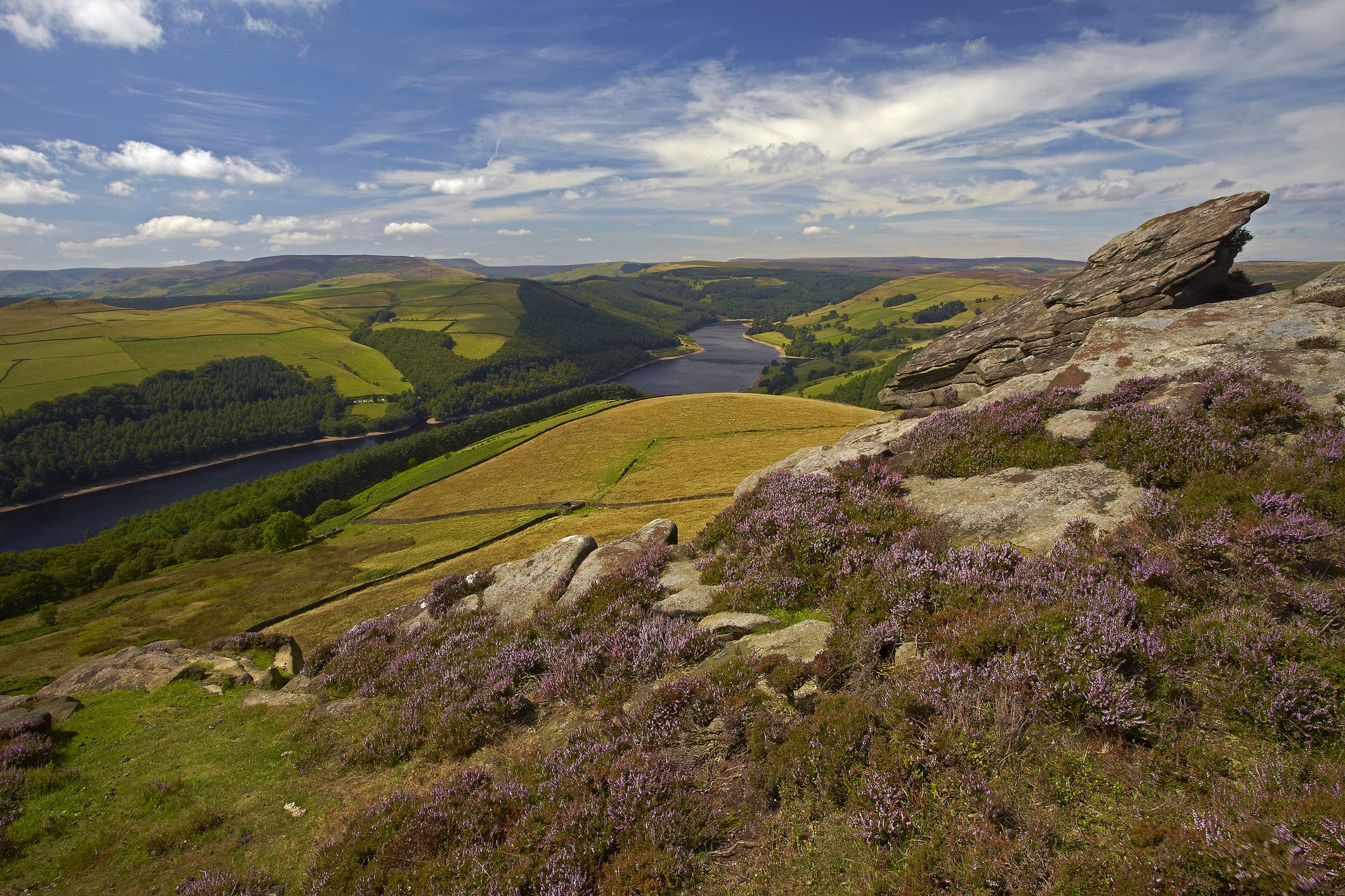 A view towards Ladybower Reservoir in the Upper Derwent Valley from Derwent Edge in the Peak District National Park.