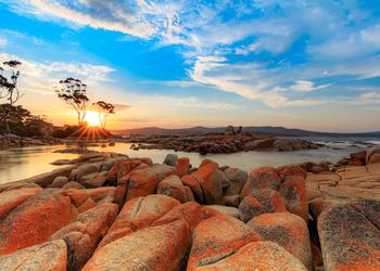 Flaming red Lichen rocks on the beach at the Bay of Fires in Tasmania at sunset