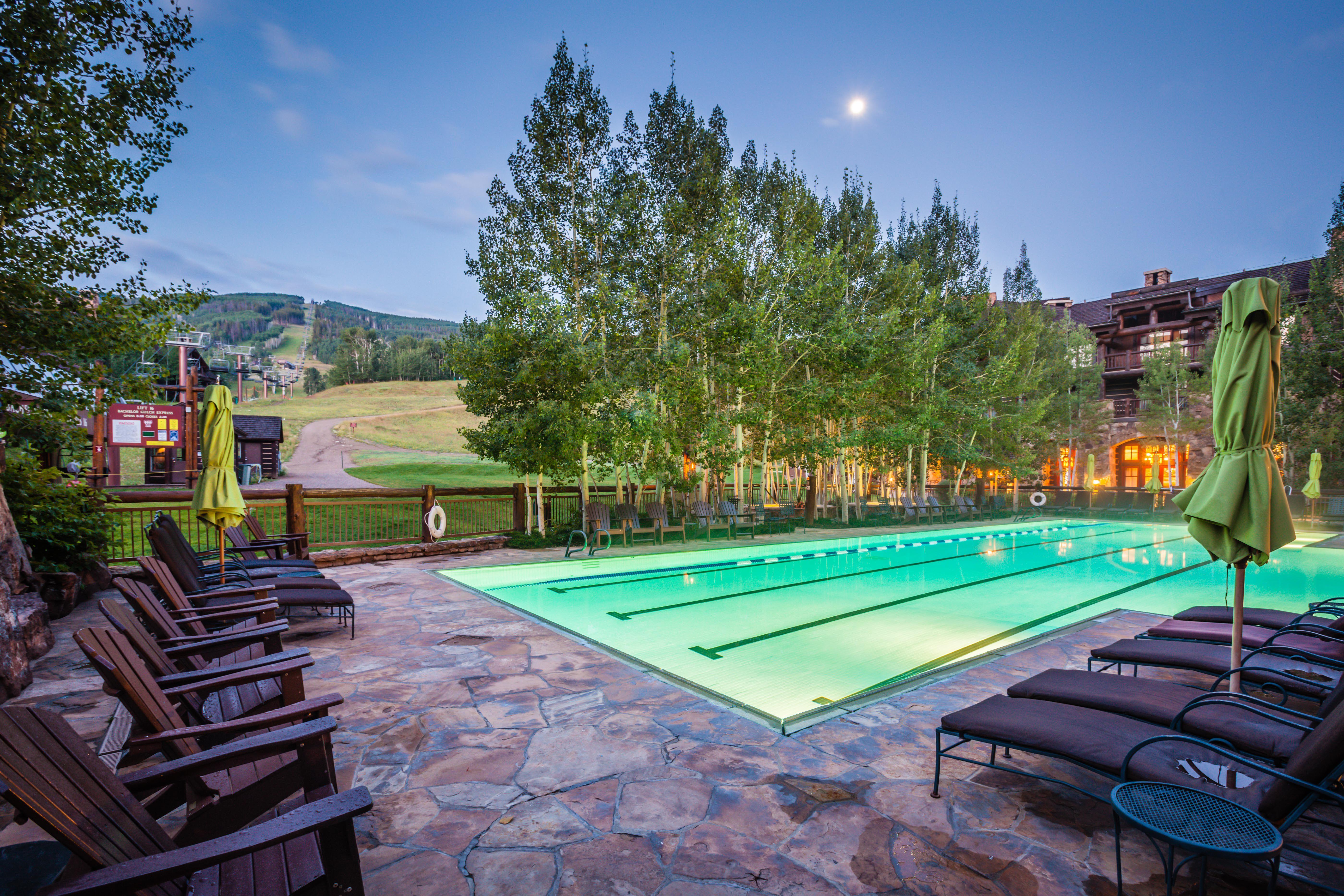 Outdoor heated lap pool at The Ritz-Carlton, Bachelor Gulch in Beaver Creek Colorado