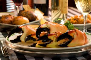 Stone crab claws on a plate
