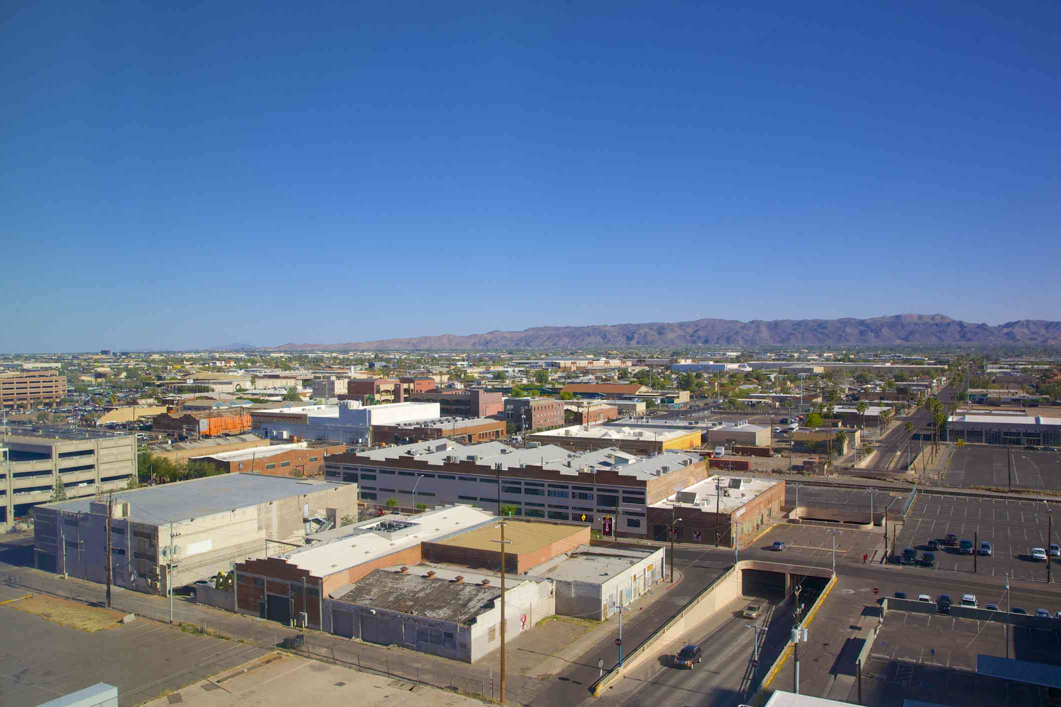 View from high up of Phoenix's warehouse district