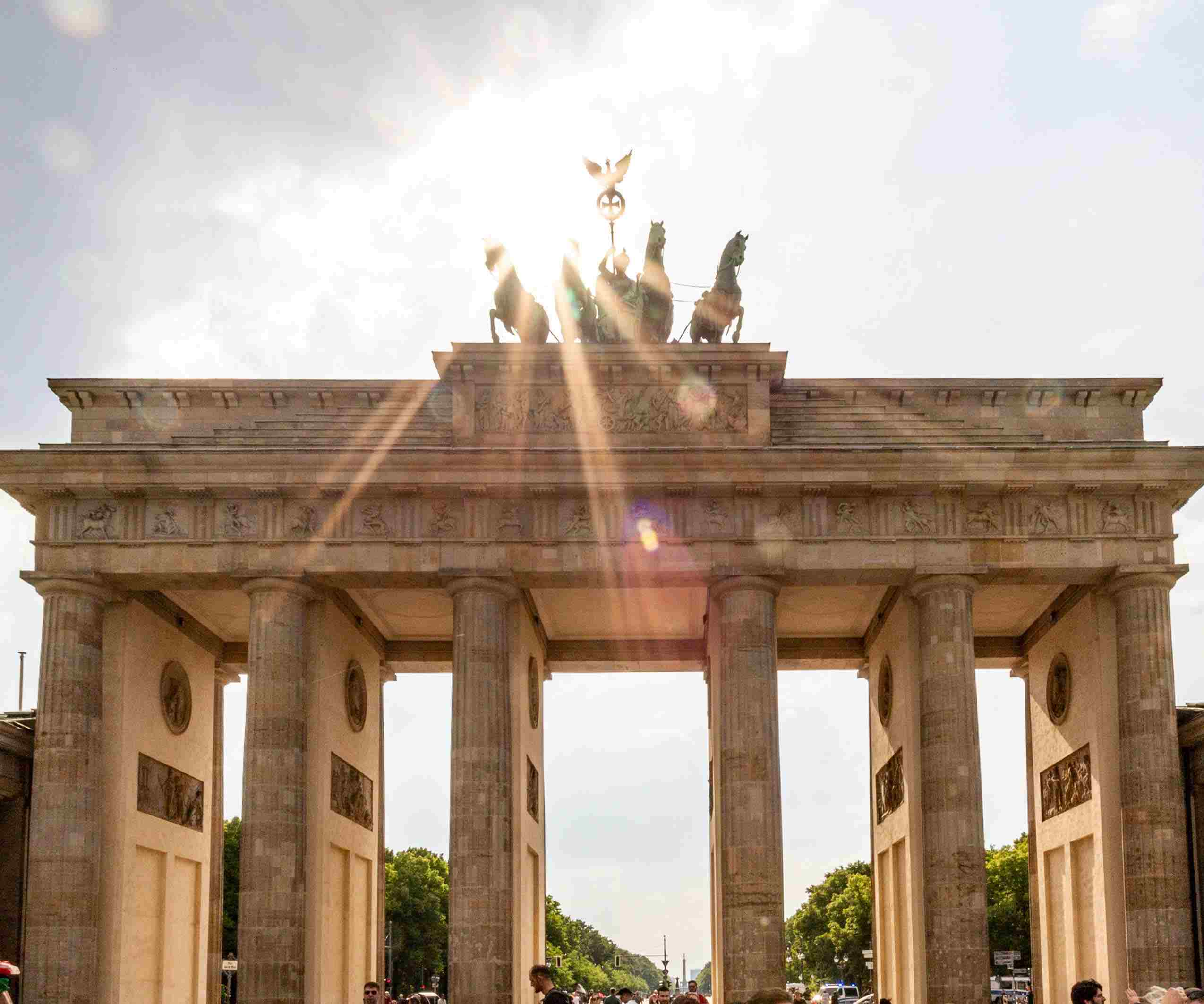 A sunflare over the top of the Brandenburg Gate