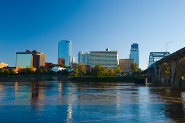 Little Rock downtown skyline, river, and bridge