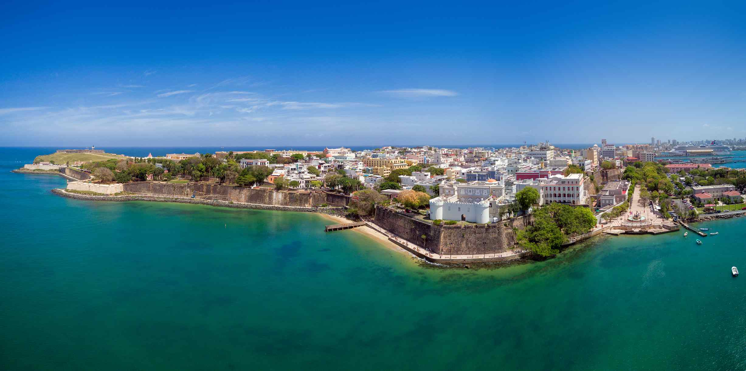Aerial View Over San Juan Old Town Puerto Rico