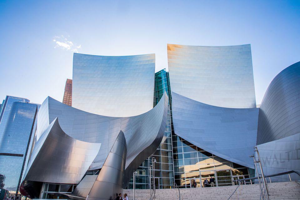 Walt Disney Concert hall with a sun glint