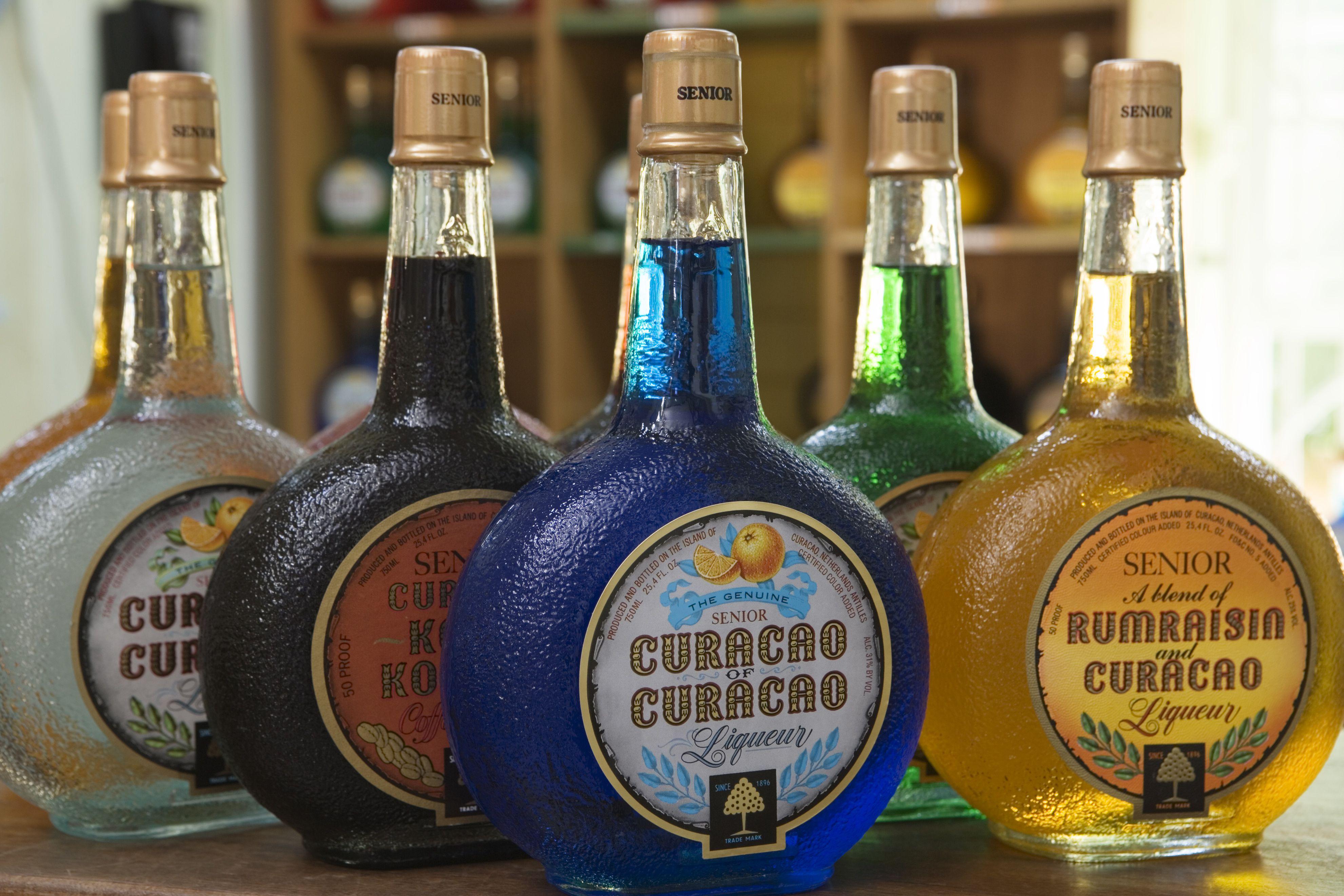 Bottles of curacao, Curacao Liqueur Distillery, Landhuis Chobolobo, Salina.