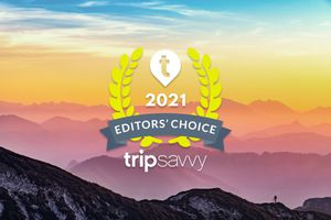 Sunset from top of a mountain with the TripSavvy Editor's Choice Awards 2021 badge