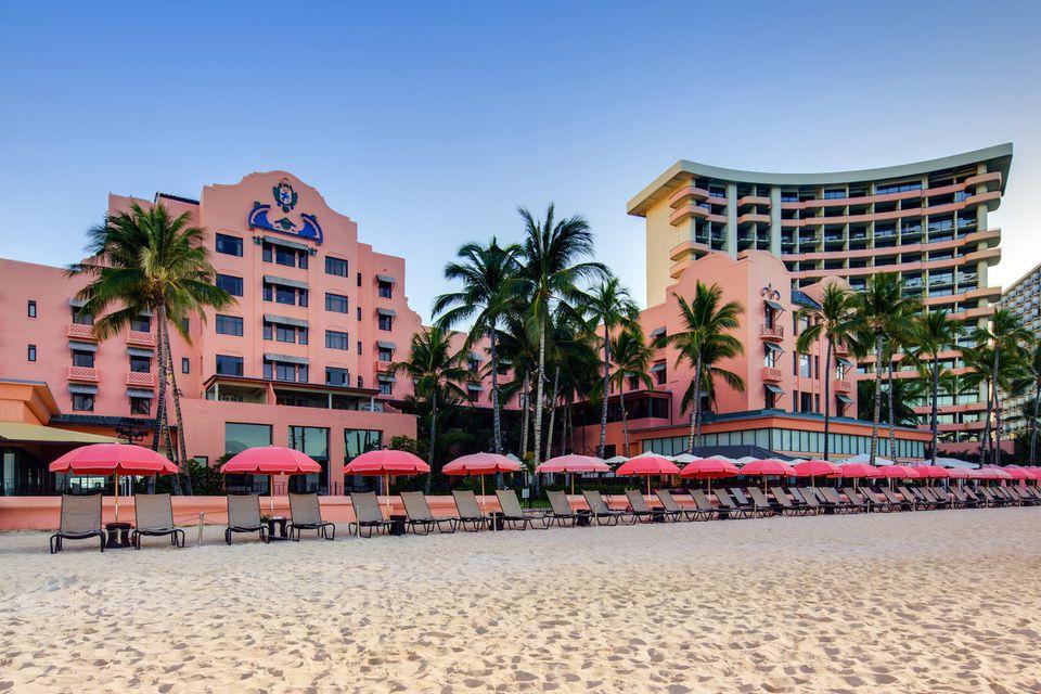 Beach front view of Royal Hawaiian