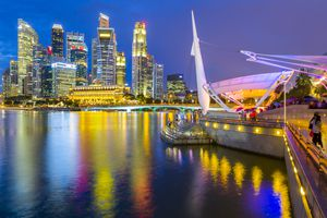 Singapore waterfront at sunset