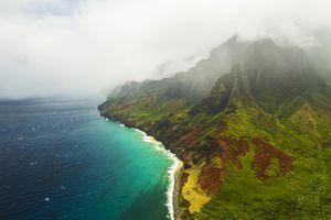 Clouds over Kauai island in Hawaii