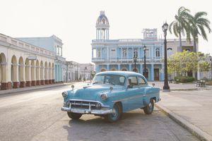 Vintage car in Jose Marti square, Cienfuegos, Cuba